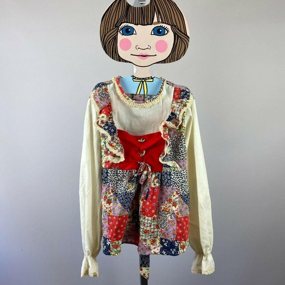 70s Girls Patchwork Hippie Boho Blouse Youth Top